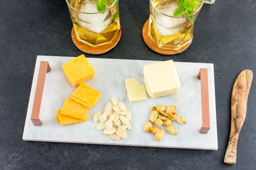 Make a DIY marble and copper handle tray