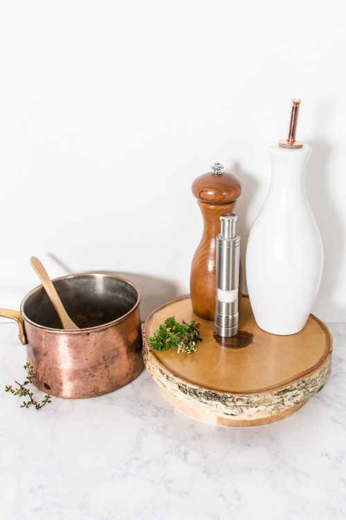 Turn a wood slice into a useful Lazy Susan with this easy Ikea hack.