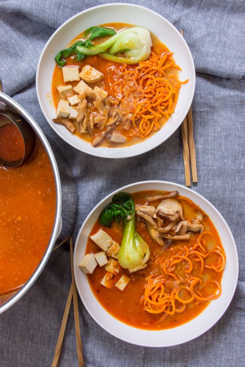 Flavorful, plant-based spicy curry sweet potato noodle ramen