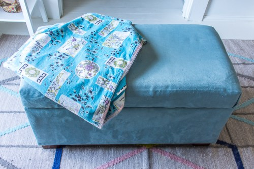 DIY re-covered storage ottoman