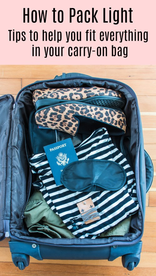 Tips on how to pack light with just carry-on bags. Your air travel will be so much faster and easier if you avoid checking luggage!