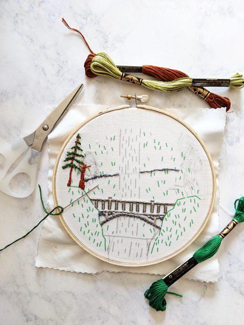 Multnomah Falls embroidery