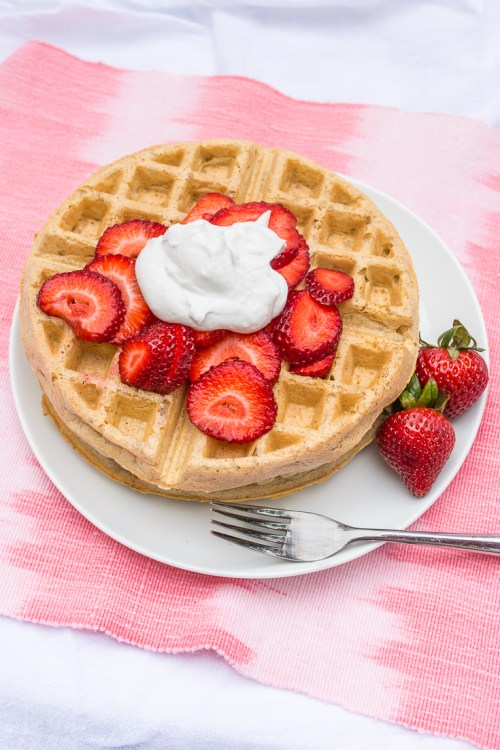 Vegan overnight yeasted waffles are the perfect combination of crispy on the outside and moist on the inside, with a mild sourdough tang. #plantbased #vegan #brunch #waffles #recipe