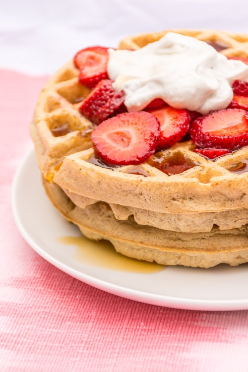 Vegan overnight yeasted waffles are the perfect combination of crispy on the outside and moist on the inside, with a mild sourdough tang. #plantbased #vegan #brunch #waffles