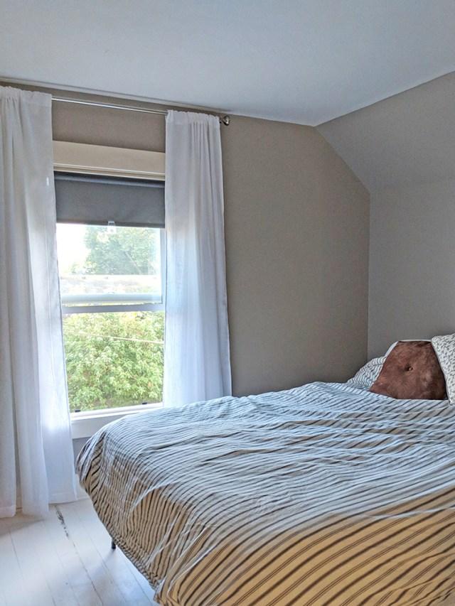 curtains hung high