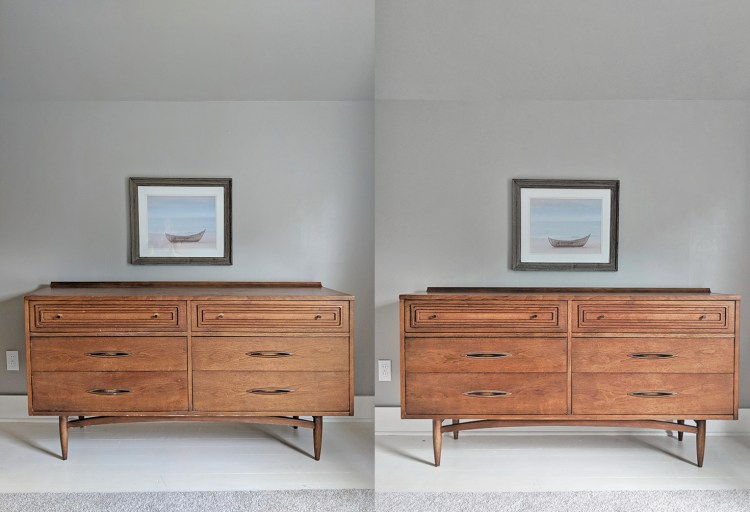 Mid-century modern dresser before and after