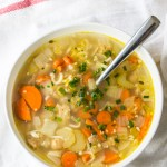 This comforting vegan no-chicken noodle soup can be made on the stovetop, or in a slow cooker.