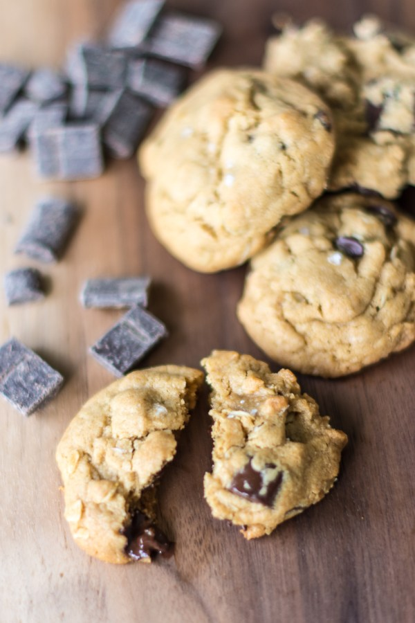 Vegan Salted Peanut Butter Chocolate Chip Cookies