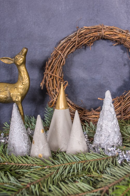 Learn how to make your own #DIY mini concrete Christmas trees.
