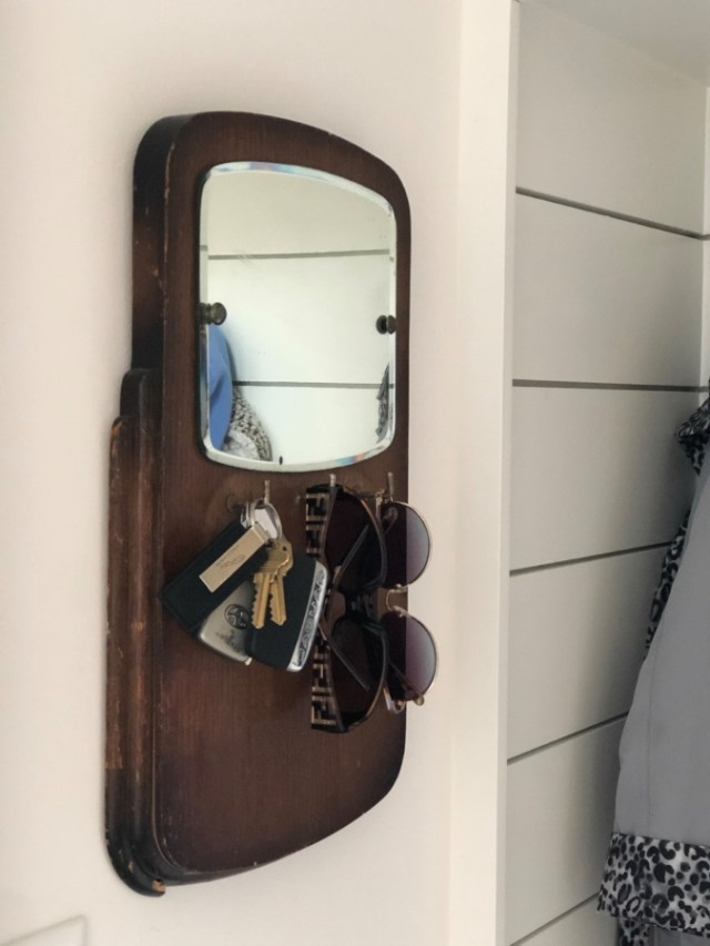 Vintage Key Holder with Mirror for Mudroom