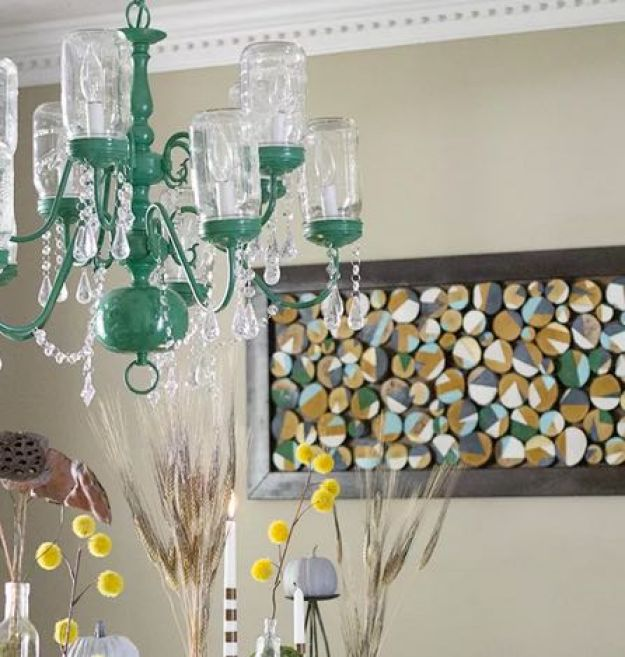 DIY Mason Jar Chandelier - Vintage Home Decor Ideas