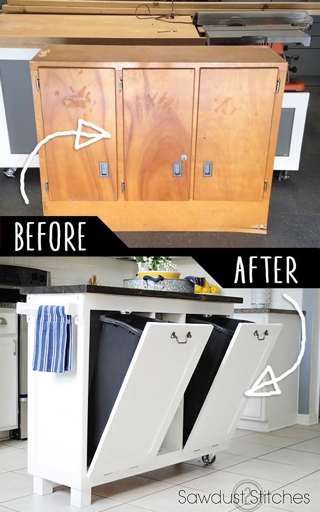 39 Clever DIY Furniture Hacks DIY Furniture Hacks   Garage Sale Cabinet into Kitchen Stand   Cool Ideas  for Creative Do