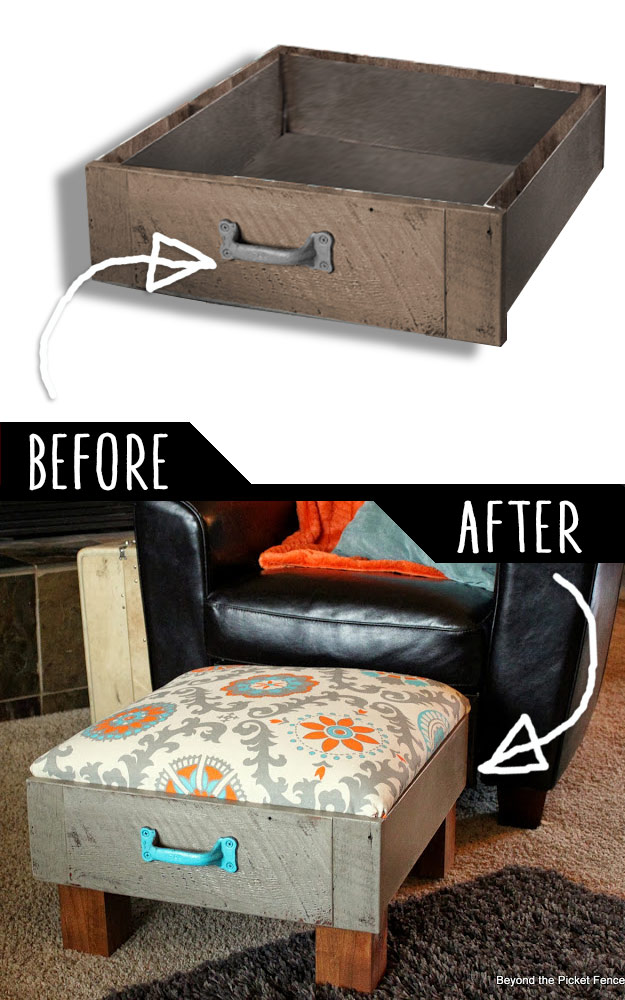 39 Clever DIY Furniture Hacks DIY Furniture Hacks   Foot Rest from Old Drawers   Cool Ideas for Creative  Do It