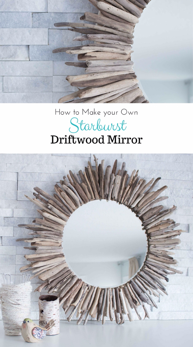 DIY Farmhouse Style Decor Ideas - Starburst Driftwood Mirror - Rustic Ideas for Furniture, Paint Colors, Farm House Decoration for Living Room, Kitchen and Bedroom https://diyjoy.com/diy-farmhouse-decor-ideas