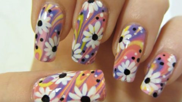 Diy Nail Polish Crafts Colorful Flower Design Water Marbling Art Easy And Craft