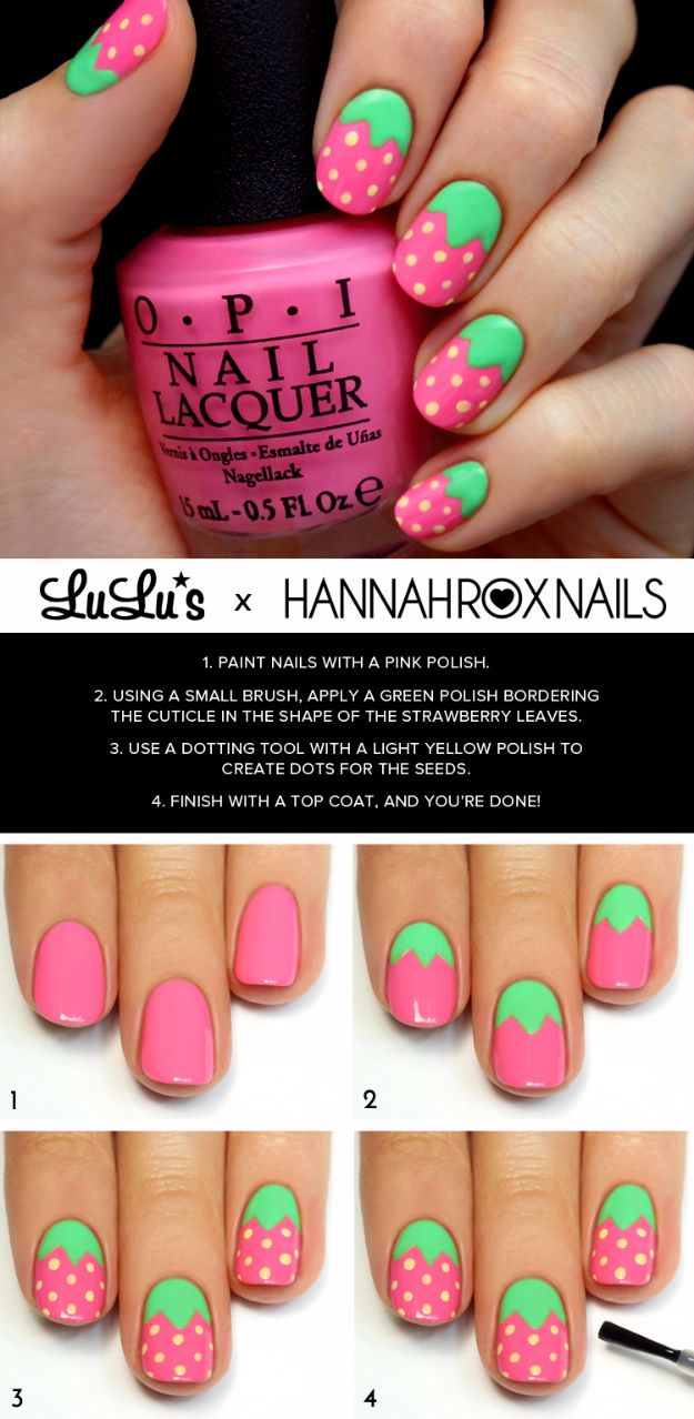 Quick Nail Art Ideas Pink Strawberry Easy Step By Designs