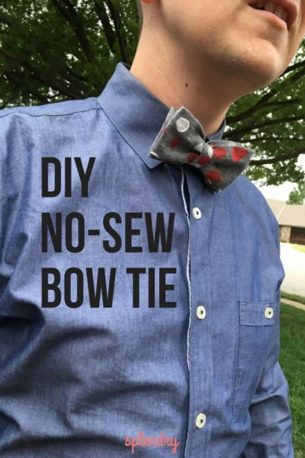 DIY Fathers Day Gifts - DIY No-Sew Bow Tie for Dad - Homemade Presents and Gift Ideas for Dad - Cute and Easy Things to Make For Father