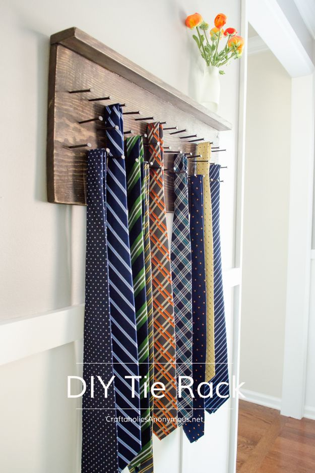 DIY Fathers Day Gifts - DIY Tie Rack - Homemade Presents and Gift Ideas for Dad - Cute and Easy Things to Make For Father