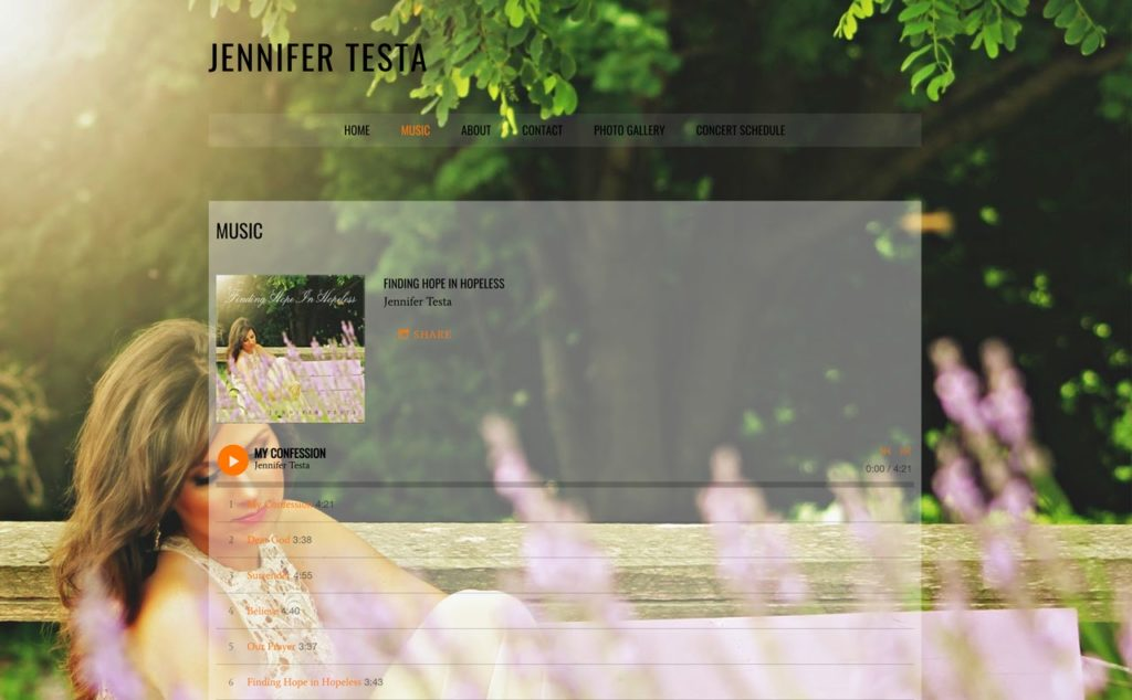 Example of a musician's website with album art visible