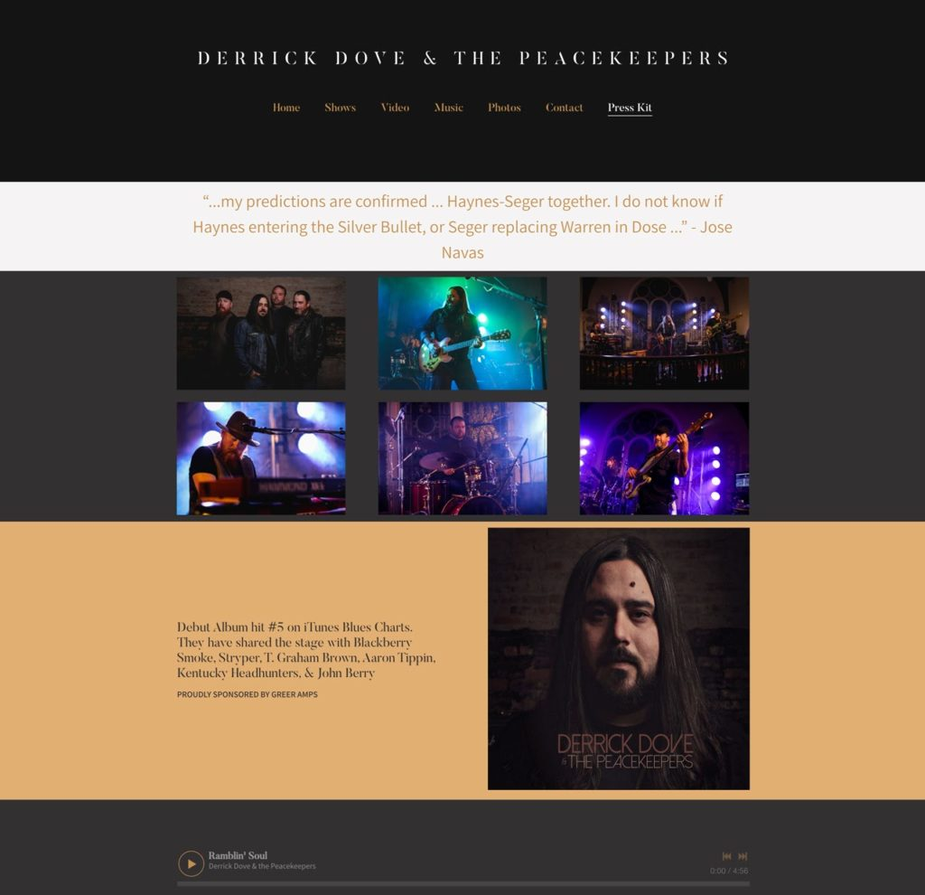 Example EPK for a musician on their website
