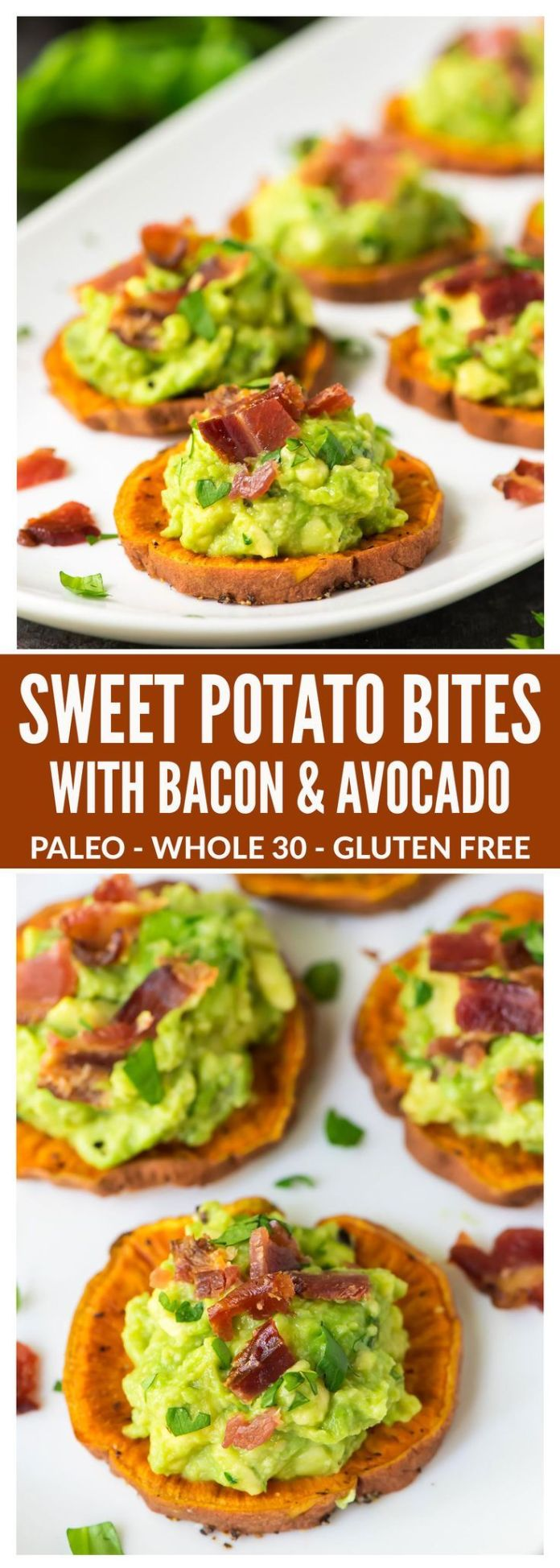 Sweet Potato Bites with Bacon and Avocado. Great finger food for game day and fo...