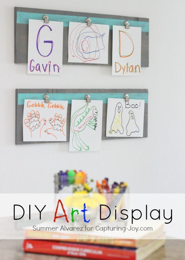 Best Diy Crafts Ideas For Your Home. DIY Art Display. Fun Idea To Display  Kids Artwork.
