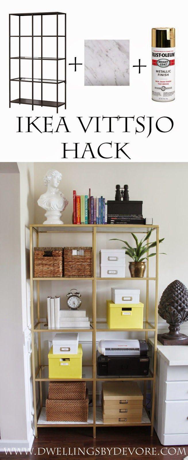 Diy Crafts Ideas Ikea Vittsjo Hack Using Gold Spray Paint And  # Meuble Ikea Vittsjo