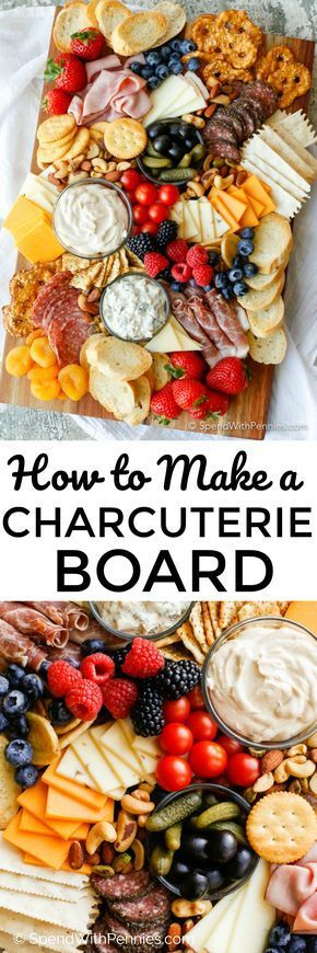 Learn how to make a Charcuterie board for a simple no-fuss party snack! A meat a...