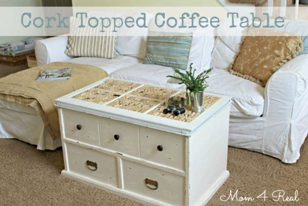 Cork Topped Coffee Table | Impressive Ways To Reuse Wine Corks