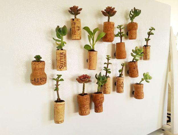 Succulent Wine Cork Planter Magnets   Impressive Ways To Reuse Wine Corks