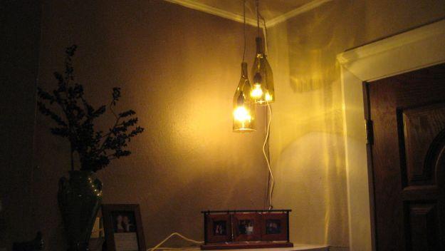 Wine Bottle Pendant Light | DIY Pendant Lighting Projects