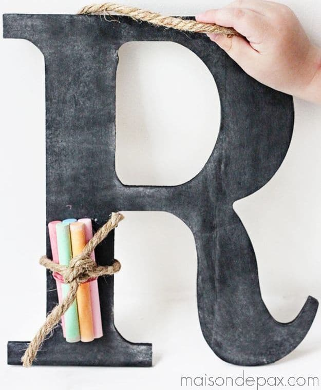 DIY Monogram Chalk Slate | DIY Teacher Gifts To Ring In The New School Year