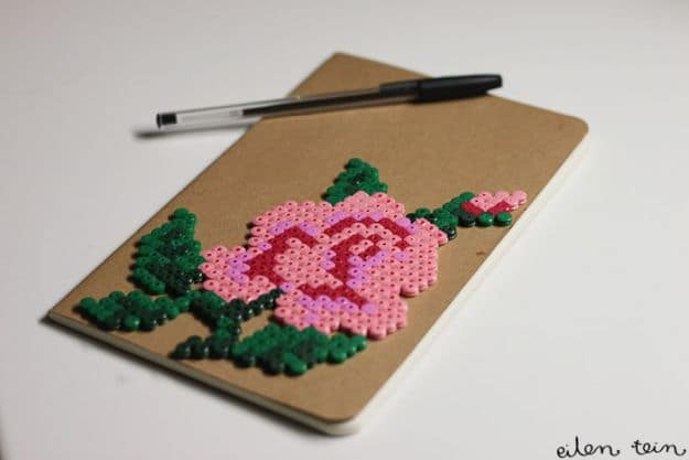 Flowery Perler Notebook | Easy Crafts To Make And Sell