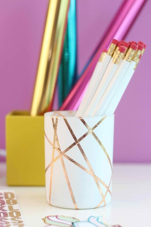 Gold Foiled Pencil Cup | Easy Crafts To Make And Sell