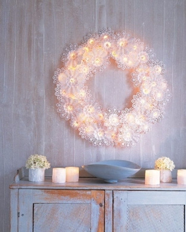 String Light Diy Ideas For Cool Home Decor Paper Doily Wreath Lights Are Fun