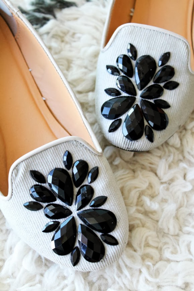 DIY Shoe Makeovers - Embellished Loafers - Cool Ways to Update, Decorate, Paint, Bedazle and Add Sparkle to Your Flats, Pumps, Tennis Shoes, Boots and Boring Shoes - Cool Crafts and DIY Shoe Ideas for Teens and Adults http://diyprojectsforteens.com/diy-shoe-makeovers
