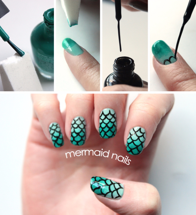 Awesome Nail Art Patterns And Ideas Diy Mermaid Nails Step By