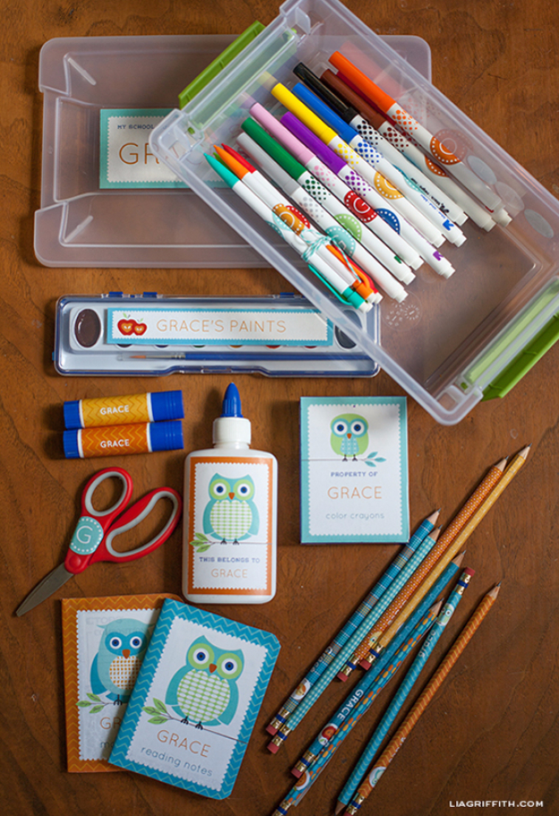 DIY School Supplies You Need For Back To School - Personalized School Supply Labels - Cuter, Cool and Easy Projects for Teens, Tweens and Kids to Make for Middle School and High School. Fun Ideas for Backpacks, Pencils, Notebooks, Organizers, Binders http://diyprojectsforteens.com/diy-school-supplies