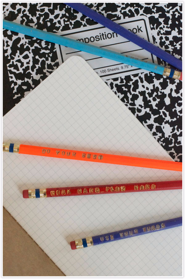 DIY School Supplies You Need For Back To School - Stamped Pencils - Cuter, Cool and Easy Projects for Teens, Tweens and Kids to Make for Middle School and High School. Fun Ideas for Backpacks, Pencils, Notebooks, Organizers, Binders http://diyprojectsforteens.com/diy-school-supplies
