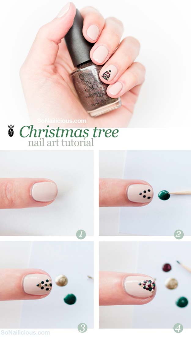 Cool Diy Nail Art Designs And Patterns For Christmas Holidays Tree