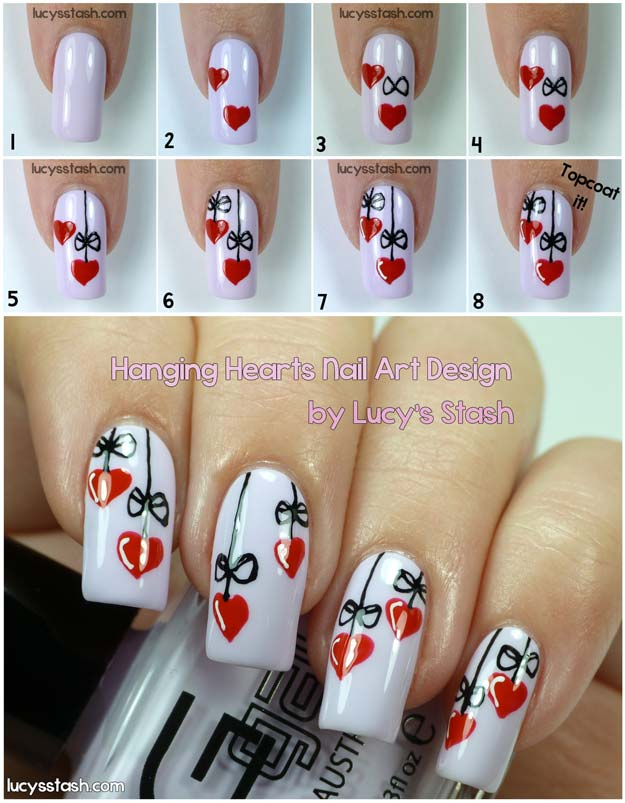 Valentine Nail Art Ideas Hanging Hearts Cute And Cool Looks For Valentines Day Nails