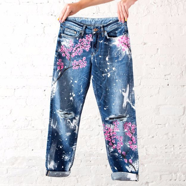 Cool Summer Fashions for Teens - Cherry Blossom Boyfriend Jeans - Easy Sewing Projects and No Sew Crafts for Fun Fashion for Teenagers - DIY Clothes, Shoes and Accessories for Summertime Looks - Cheap and Creative Ways to Dress on A Budget http://diyprojectsforteens.com/diy-summer-fashion-teens