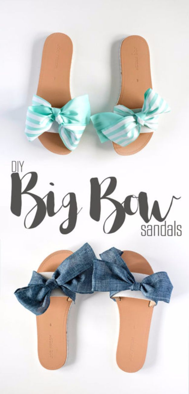 Cool Summer Fashions for Teens - DIY Big Bow Sandals - Easy Sewing Projects and No Sew Crafts for Fun Fashion for Teenagers - DIY Clothes, Shoes and Accessories for Summertime Looks - Cheap and Creative Ways to Dress on A Budget http://diyprojectsforteens.com/diy-summer-fashion-teens