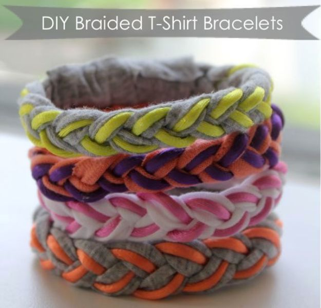 Cool Summer Fashions for Teens - DIY Braided T-Shirt Bracelets - Easy Sewing Projects and No Sew Crafts for Fun Fashion for Teenagers - DIY Clothes, Shoes and Accessories for Summertime Looks - Cheap and Creative Ways to Dress on A Budget http://diyprojectsforteens.com/diy-summer-fashion-teens