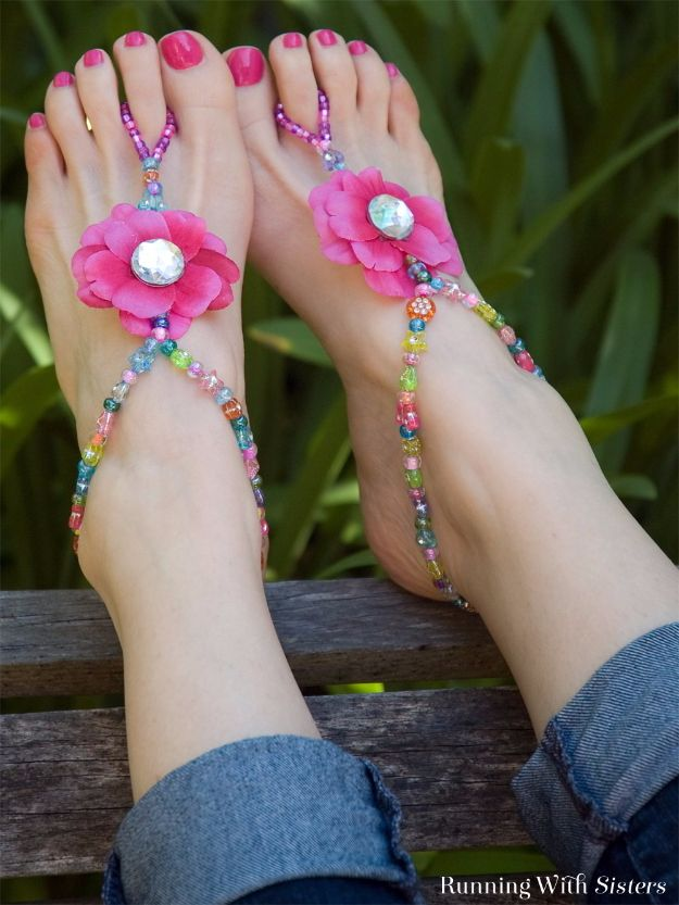 Cool Summer Fashions for Teens - Summer Beaded Barefoot Sandals - Easy Sewing Projects and No Sew Crafts for Fun Fashion for Teenagers - DIY Clothes, Shoes and Accessories for Summertime Looks - Cheap and Creative Ways to Dress on A Budget http://diyprojectsforteens.com/diy-summer-fashion-teens