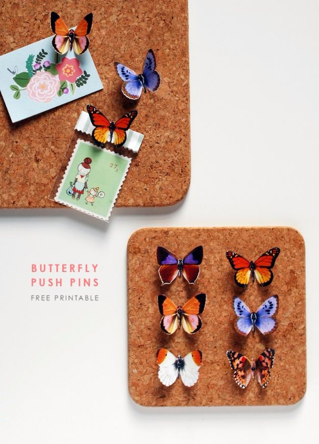 DIY Ideas With Butterflies - DIY Butterfly Push Pins - Cute and Easy DIY Projects for Butterfly Lovers - Wall and Home Decor Projects, Things To Make and Sell on Etsy - Quick Gifts to Make for Friends and Family - Homemade No Sew Projects- Fun Jewelry, Cool Clothes and Accessories #diyideas #butterflies #teencrafts