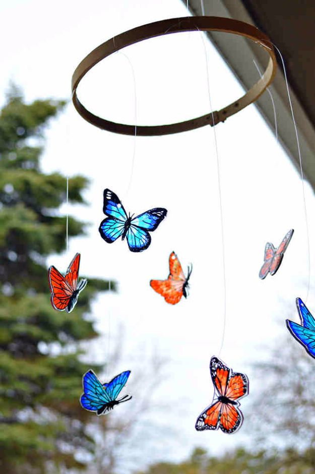 DIY Ideas With Butterflies - Shrink Plastic Butterfly Mobile - Cute and Easy DIY Projects for Butterfly Lovers - Wall and Home Decor Projects, Things To Make and Sell on Etsy - Quick Gifts to Make for Friends and Family - Homemade No Sew Projects- Fun Jewelry, Cool Clothes and Accessories #diyideas #butterflies #teencrafts