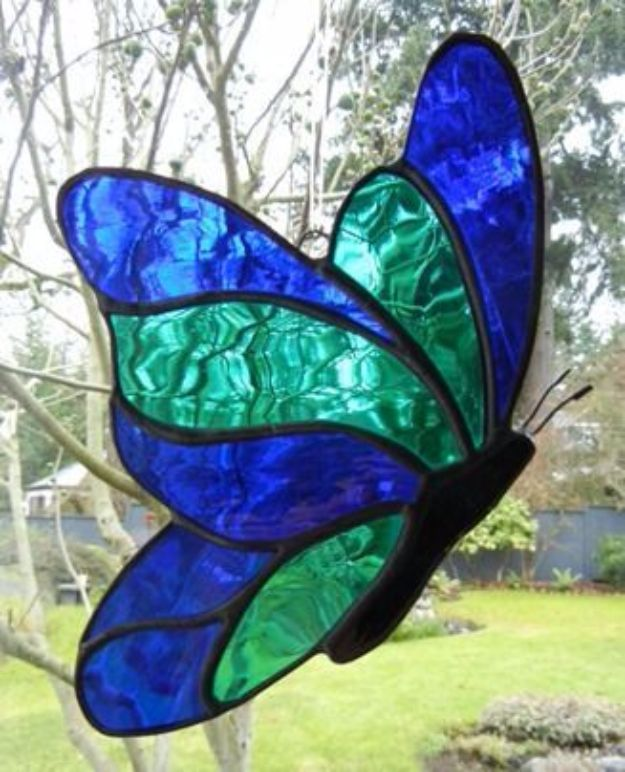 DIY Ideas With Butterflies - Stained Glass Butterfly - Cute and Easy DIY Projects for Butterfly Lovers - Wall and Home Decor Projects, Things To Make and Sell on Etsy - Quick Gifts to Make for Friends and Family - Homemade No Sew Projects- Fun Jewelry, Cool Clothes and Accessories #diyideas #butterflies #teencrafts