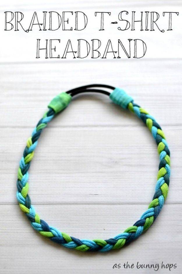 DIY Ideas With Old T-shirts - Braided T-Shirt Headband - Tshirt Makeovers and Transformation Ideas for Tee Shirts - DIY Clothes to Make On A Budgert - Creative and Easy Fashion Ideas for Teen Girls, Teenagers, Adults - Cut and Refashion Your Shirts With These Step by Step Tutorials #teencrafts #tshirtideas #diyclothes #fashion #crafts