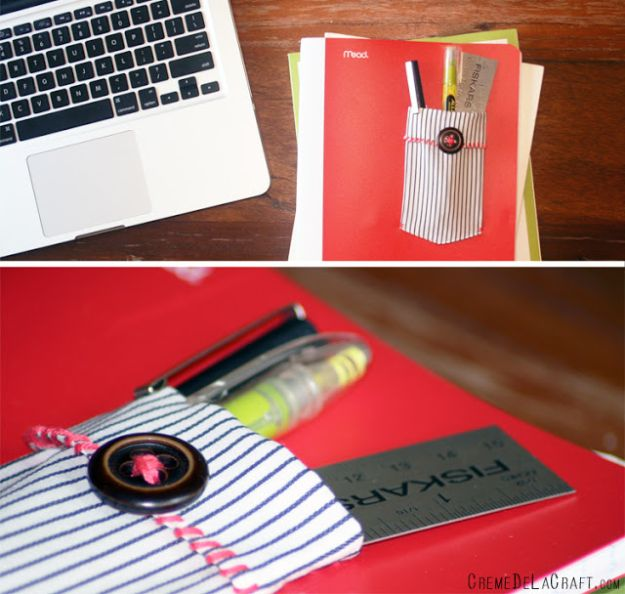DIY Ideas With Old T-shirts - DIY Notebook Pocket - Tshirt Makeovers and Transformation Ideas for Tee Shirts - DIY Clothes to Make On A Budgert - Creative and Easy Fashion Ideas for Teen Girls, Teenagers, Adults - Cut and Refashion Your Shirts With These Step by Step Tutorials #teencrafts #tshirtideas #diyclothes #fashion #crafts